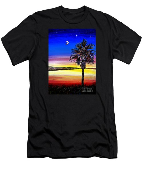 Palmetto Sunset Moon And Stars Men's T-Shirt (Slim Fit) by Patricia L Davidson