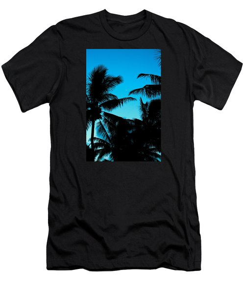 Men's T-Shirt (Slim Fit) featuring the photograph Palms At Dusk With Sliver Of Moon by Lehua Pekelo-Stearns
