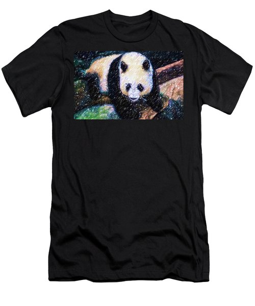 Men's T-Shirt (Slim Fit) featuring the painting Panda In The Rest by Lanjee Chee