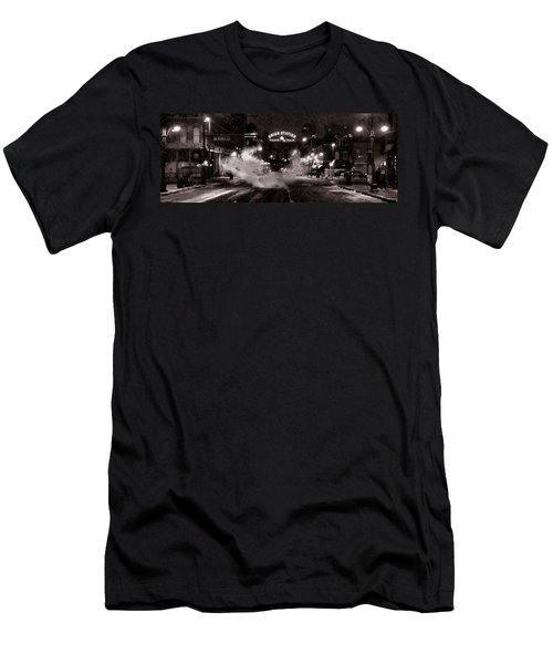 Panorama Of Denver Union Station During Snow Storm Men's T-Shirt (Slim Fit) by Ken Smith