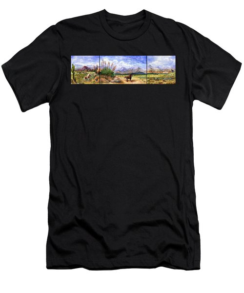 Panorama Triptych Don't Fence Me In  Men's T-Shirt (Athletic Fit)