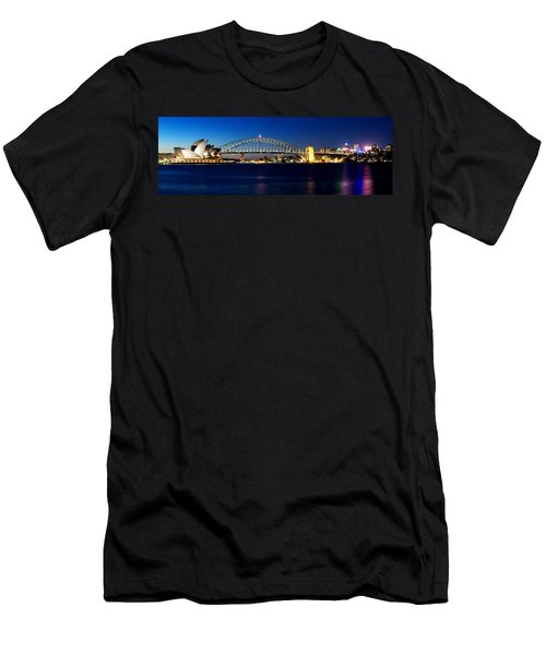 Panoramic Photo Of Sydney Night Scenery Men's T-Shirt (Athletic Fit)