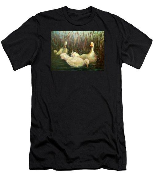 Paradise Pond,ducks  Men's T-Shirt (Athletic Fit)