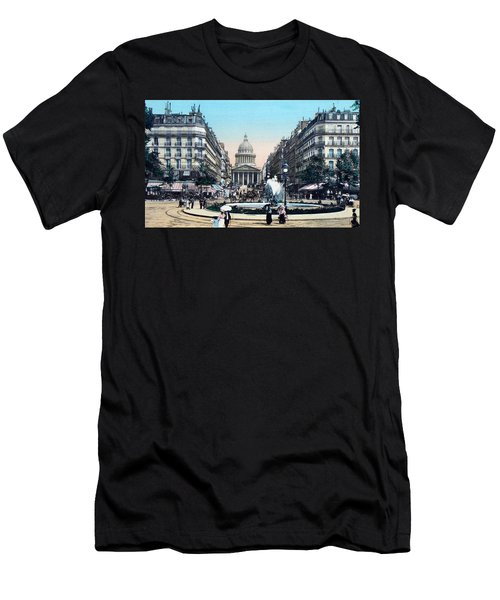 Paris 1910 Rue Soufflot And Pantheon Men's T-Shirt (Slim Fit) by Ira Shander