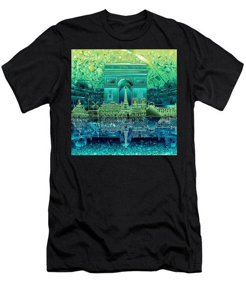 Paris Skyline Landmarks 6 Men's T-Shirt (Athletic Fit)