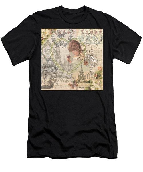 Paris Vintage Collage With Child Men's T-Shirt (Athletic Fit)