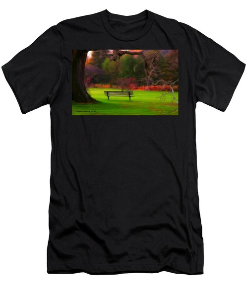 Men's T-Shirt (Slim Fit) featuring the painting Park Bench by Bruce Nutting