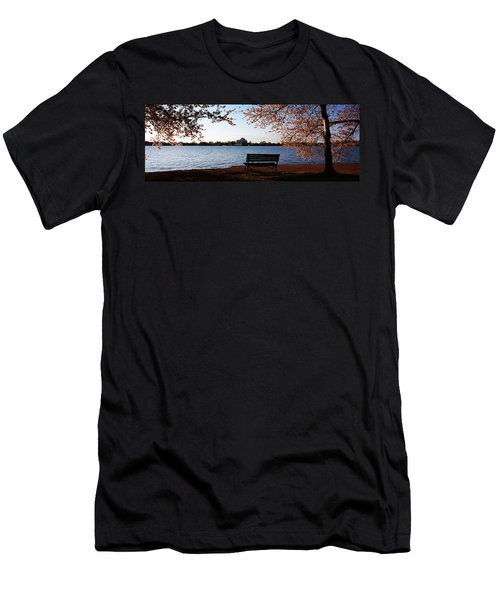 Park Bench With A Memorial Men's T-Shirt (Slim Fit) by Panoramic Images