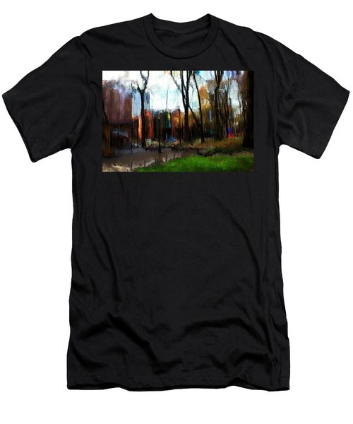Men's T-Shirt (Slim Fit) featuring the mixed media Park Block I by Terence Morrissey