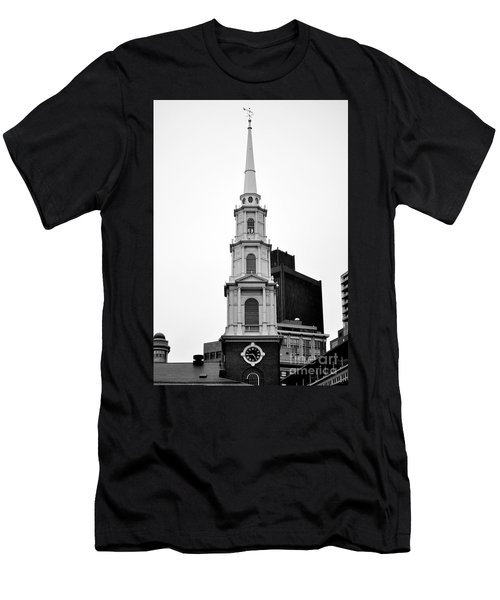 Park Street Church Boston Black And White Men's T-Shirt (Athletic Fit)
