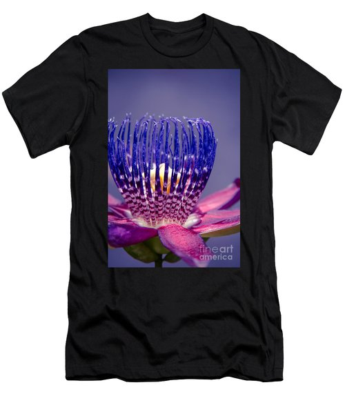 Men's T-Shirt (Athletic Fit) featuring the photograph Passiflora Alata - Ruby Star - Ouvaca - Fragrant Granadilla -  Winged-stem Passion Flower by Sharon Mau
