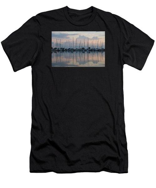 Pastel Sailboats Reflections At Dusk Men's T-Shirt (Athletic Fit)