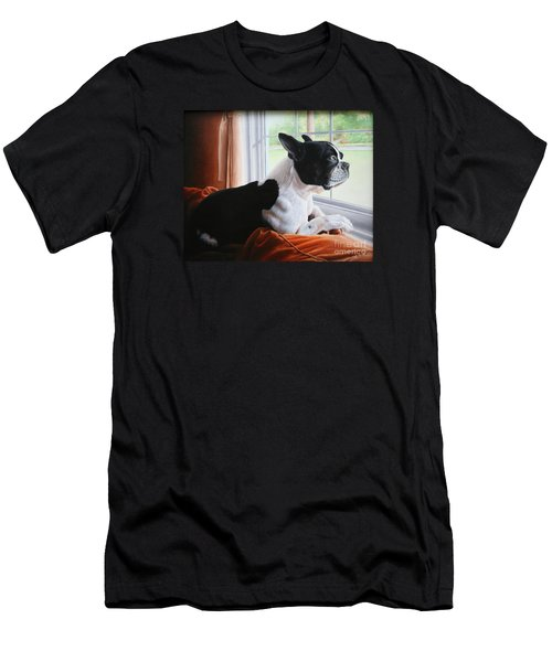 Men's T-Shirt (Slim Fit) featuring the painting Patiently Waiting by Mike Ivey