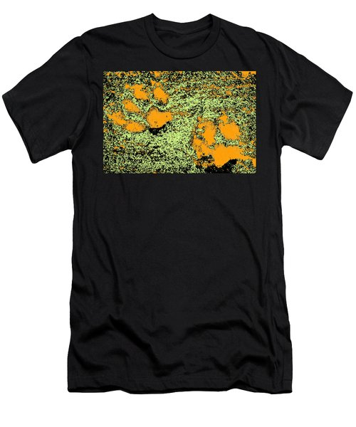 Paw Prints In Orange Lime And Black Men's T-Shirt (Athletic Fit)