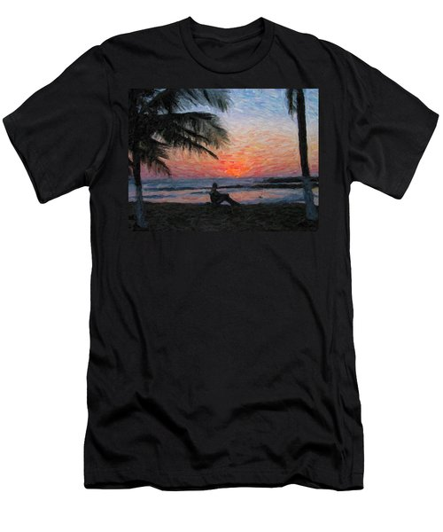 Peaceful Sunset Men's T-Shirt (Slim Fit) by David Gleeson
