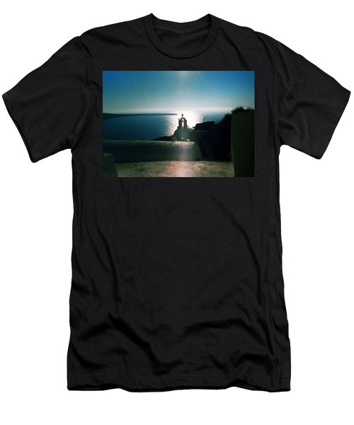 Men's T-Shirt (Slim Fit) featuring the photograph Peaceful Sunset Santorini Island Greece by Colette V Hera  Guggenheim
