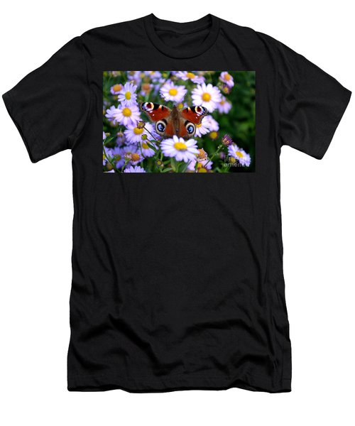 Peacock Butterfly Perched On The Daisies Men's T-Shirt (Athletic Fit)