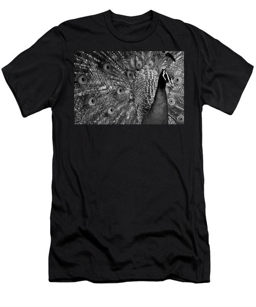 Men's T-Shirt (Slim Fit) featuring the photograph Peacock Bw by Ron White