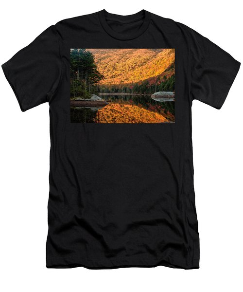 Men's T-Shirt (Slim Fit) featuring the photograph Peak Fall Foliage On Beaver Pond by Jeff Folger