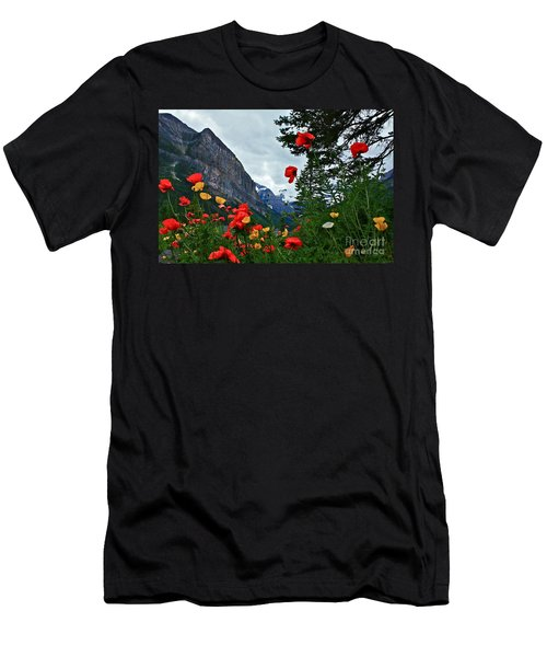 Peaks And Poppies Men's T-Shirt (Slim Fit) by Linda Bianic