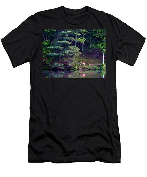 Men's T-Shirt (Slim Fit) featuring the painting Peaks Of Otter Deer by John Haldane