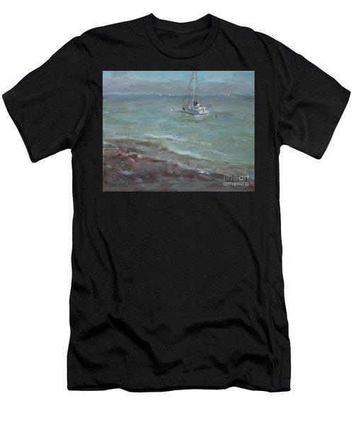 Pebbly Beach Sail Boat Men's T-Shirt (Athletic Fit)