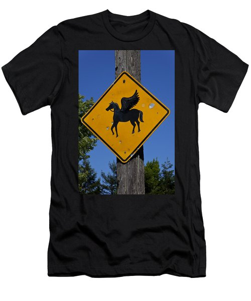 Pegasus Road Sign Men's T-Shirt (Athletic Fit)