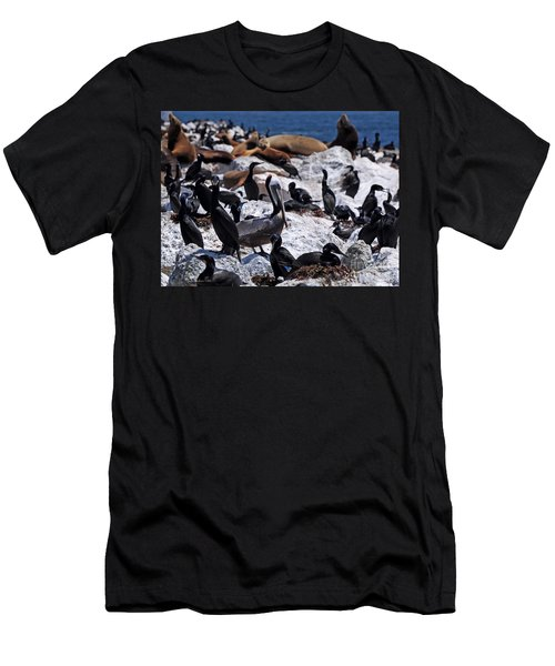 Men's T-Shirt (Slim Fit) featuring the photograph Pelican Visitor by Susan Wiedmann