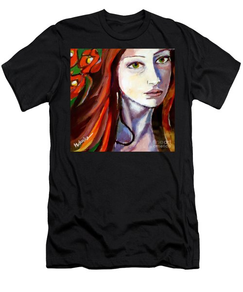 Men's T-Shirt (Slim Fit) featuring the painting Pensive Lady by Helena Wierzbicki