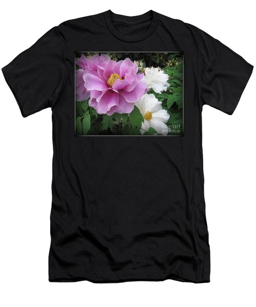 Peonies In White And Lavender Men's T-Shirt (Slim Fit) by Dora Sofia Caputo Photographic Art and Design
