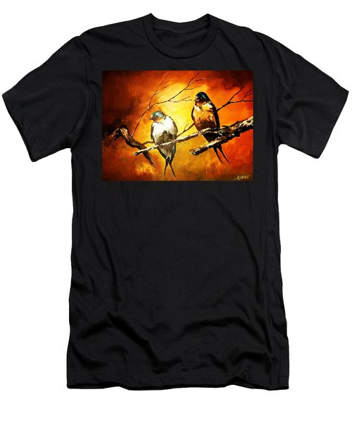Perched Swallows Men's T-Shirt (Athletic Fit)