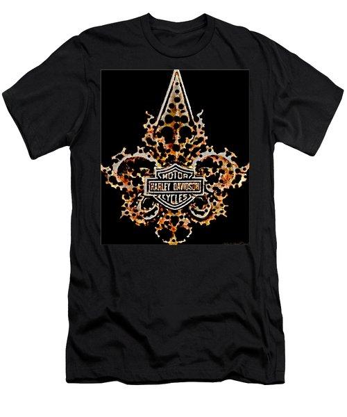 Perforated Fleurs De Lys With Harley Davidson Logo Men's T-Shirt (Athletic Fit)