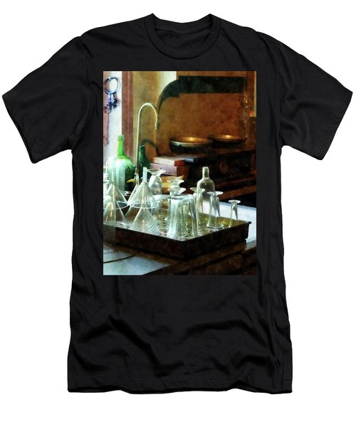 Pharmacy - Glass Funnels And Bottles Men's T-Shirt (Slim Fit) by Susan Savad