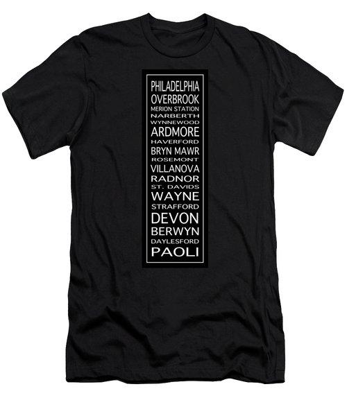 Philadelphia Main Line Train Scroll 2 Men's T-Shirt (Athletic Fit)