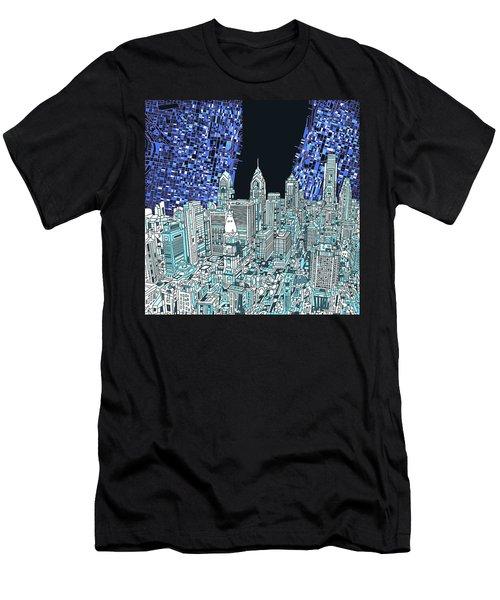 Philadelphia Map Panorama Men's T-Shirt (Athletic Fit)