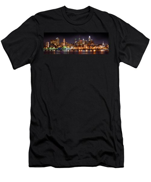 Philadelphia Philly Skyline At Night From East Color Men's T-Shirt (Athletic Fit)