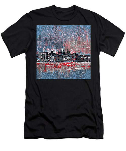 Philadelphia Skyline Abstract Men's T-Shirt (Athletic Fit)