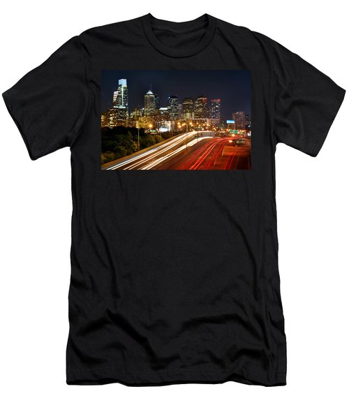 Philadelphia Skyline At Night In Color Car Light Trails Men's T-Shirt (Athletic Fit)