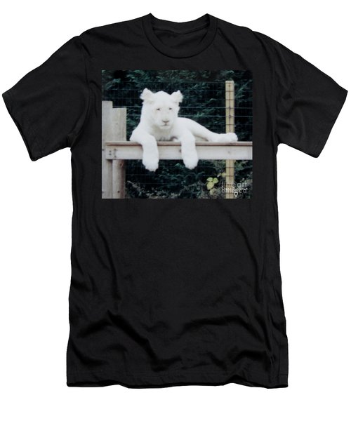 Men's T-Shirt (Slim Fit) featuring the photograph Philadelphia Zoo White Lion by Donna Brown