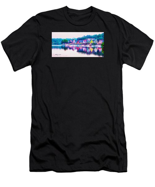 Men's T-Shirt (Athletic Fit) featuring the photograph Philadelphia's Boathouse Row On The Schuylkill River by Bill Cannon