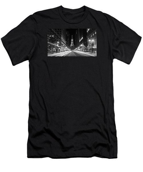 Philadephia City Hall -- Black And White Men's T-Shirt (Slim Fit) by Stephen Stookey