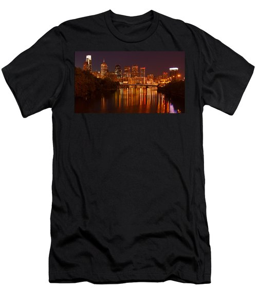 Philly Lights Reflected Men's T-Shirt (Slim Fit) by Michael Porchik