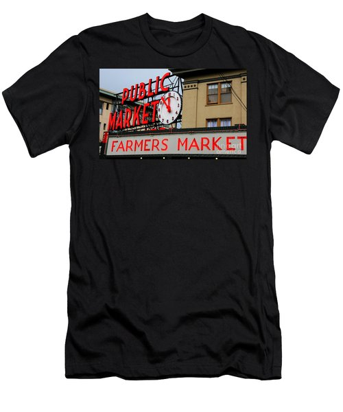 Pike Place Farmers Market Sign Men's T-Shirt (Athletic Fit)