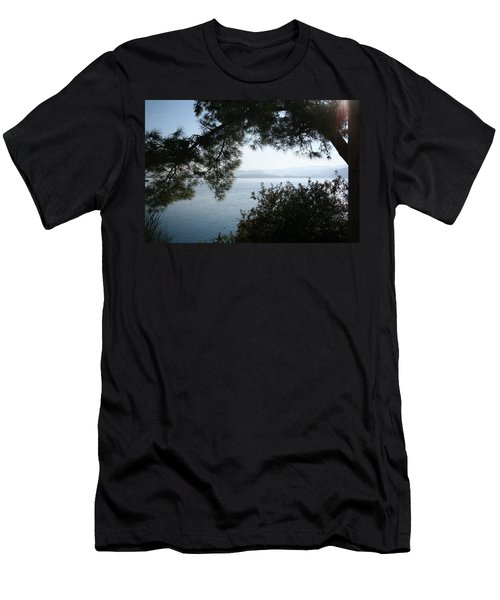 Men's T-Shirt (Slim Fit) featuring the photograph Pine Trees Overhanging The Aegean Sea by Tracey Harrington-Simpson