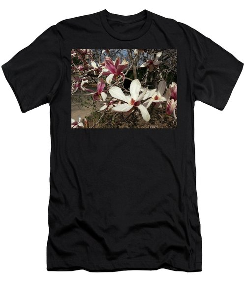 Men's T-Shirt (Slim Fit) featuring the photograph Pink And White Spring Magnolia by Caryl J Bohn