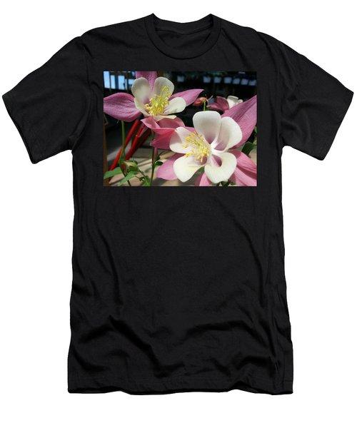 Men's T-Shirt (Slim Fit) featuring the photograph Pink Columbine by Caryl J Bohn