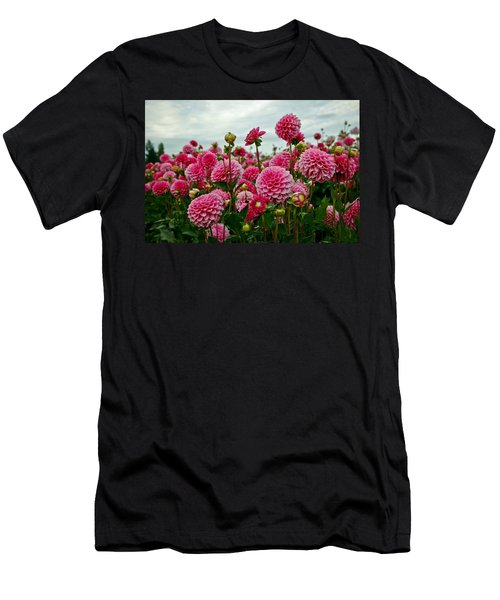 Pink Dahlia Field Men's T-Shirt (Athletic Fit)