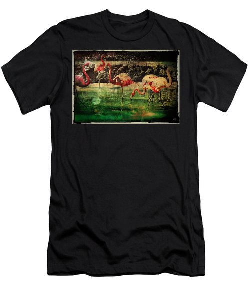 Pink Flamingos - Shangri-la Men's T-Shirt (Slim Fit) by Absinthe Art By Michelle LeAnn Scott