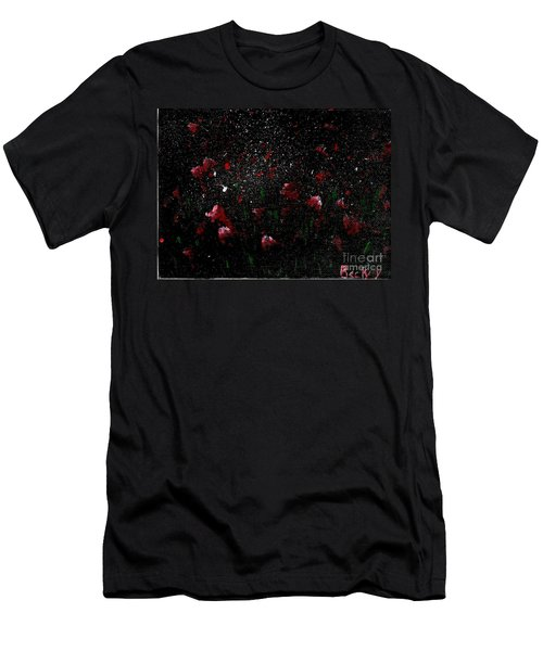 Men's T-Shirt (Slim Fit) featuring the painting Pink Flowers In Twilight by Becky Lupe