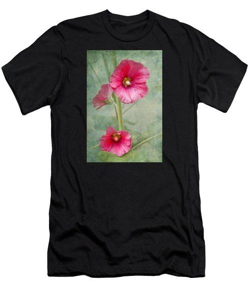 Pink Hollyhocks Men's T-Shirt (Athletic Fit)